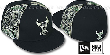 Bulls HARDWOOD 'SHOWMEDA$' Black-Money Fitted Hat by New Era