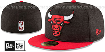 Bulls HEATHER-HUGE Black-Red Fitted Hat by New Era