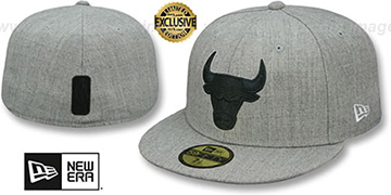 Bulls HEATHER-POP Light Grey Fitted Hat by New Era