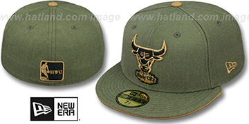 Bulls 'HEATHER SLICE' Olive Fitted Hat by New Era