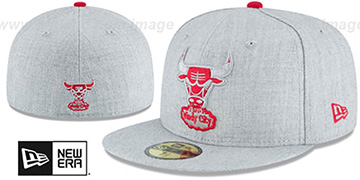 Bulls 'HEATHER TEAM-BASIC' Light Grey Fitted Hat by New Era