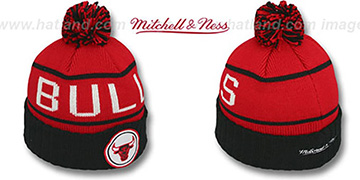Bulls 'HIGH-5 CIRCLE BEANIE' Red-Black by Mitchell and Ness