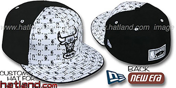 Bulls HW-NBA FLOCKING PINWHEEL White-Black Fitted Hat