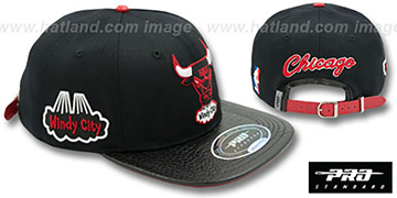 Bulls 'HWC-BASIC STRAPBACK' Black Hat by Pro Standard