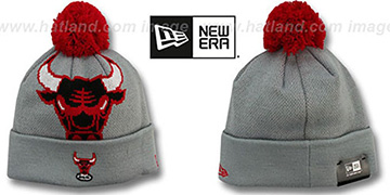 Bulls 'HWC-BIGGIE' Grey Knit Beanie Hat by New Era