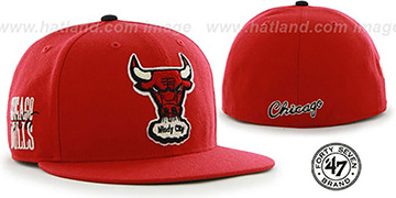 Bulls HWC CATERPILLAR Red Fitted Hat by 47 Brand