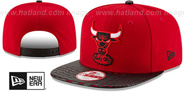 Bulls 'HWC LEATHER-RIP SNAPBACK' Red-Black Hat by New Era