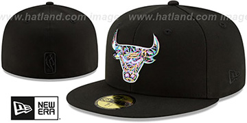 Bulls IRIDESCENT COLOR-SHIFT Black Fitted Hat by New Era
