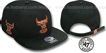 Bulls 'JULIGUNK STRAPBACK' Black-Copper Hat by Twins 47 Brand