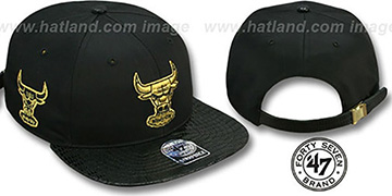 Bulls 'JULIGUNK STRAPBACK' Black-Gold Hat by Twins 47 Brand