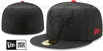 Bulls 'JUMBO HEATHER' Black Fitted Hat by New Era