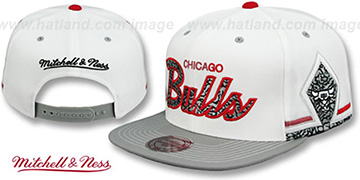 Bulls 'KAT ELEPHANT SCRIPT SNAPBACK' White-Grey Hat by Mitchell and Ness