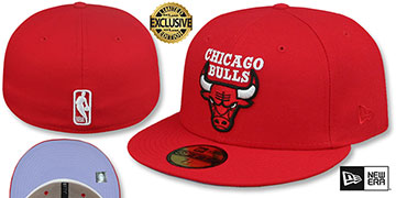 Bulls LAVENDER-BOTTOM Red Fitted Hat by New Era
