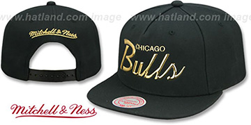 Bulls LIQUID METALLIC SCRIPT SNAPBACK Black-Gold Hat by Mitchell and Ness