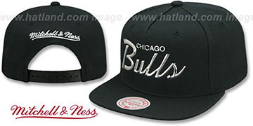 Bulls LIQUID METALLIC SCRIPT SNAPBACK Black-Silver Hat by Mitchell and Ness
