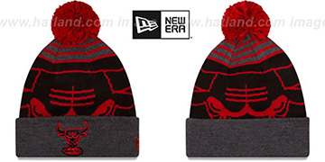 Bulls LOGO WHIZ - 2 Black-Charcoal Knit Beanie Hat by New Era
