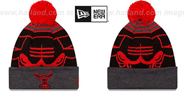 Bulls LOGO WHIZ Black-Charcoal Knit Beanie Hat by New Era