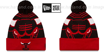 Bulls LOGO WHIZ Black-Red Knit Beanie Hat by New Era