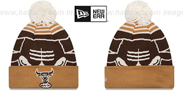 Bulls 'LOGO WHIZ' Brown-Wheat Knit Beanie Hat by New Era