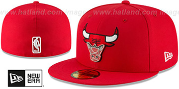 Bulls METAL-N-THREAD Red Fitted Hat by New Era