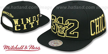 Bulls METALLIC AREA-CODE SNAPBACK Black Hat by Mitchell and Ness