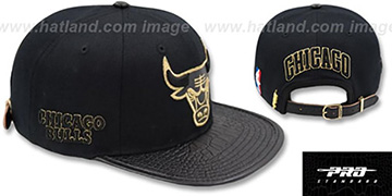Bulls METALLIC POP STRAPBACK Black Hat by Pro Standard
