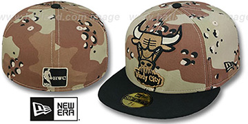 Bulls MIGHTY-XL Desert Storm Camo Fitted Hat by New Era