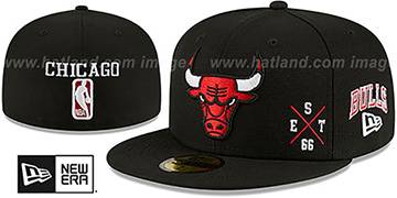 Bulls MULTI-AROUND Black Fitted Hat by New Era