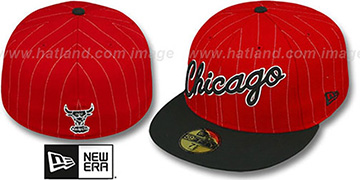 Bulls PIN-SCRIPT Red-Black Fitted Hat by New Era