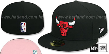Bulls PINK-BOTTOM Black Fitted Hat by New Era
