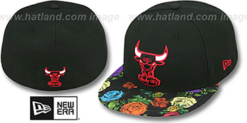 Bulls 'REAL FLORAL VIZA-PRINT' Black Fitted Hat by New Era