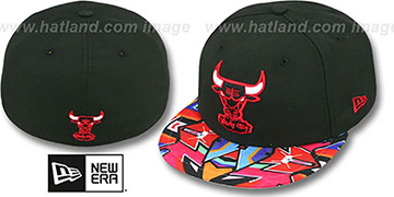 Bulls 'REAL GRAFFITI VIZA-PRINT' Black Fitted Hat by New Era