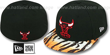 Bulls REAL TIGER VIZA-PRINT Black Fitted Hat by New Era