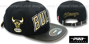 Bulls 'RETRO-ARCH STRAPBACK' Black-Gold Hat by Pro Standard