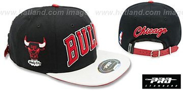 Bulls 'RETRO-ARCH STRAPBACK' Black-White Hat by Pro Standard