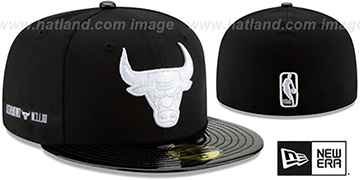 Bulls RETRO-HOOK Black-White Fitted Hat by New Era