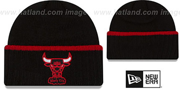 Bulls 'RIBBED-UP' Black Knit Beanie Hat by New Era