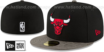 Bulls RUSTIC-VIZE Black-Grey Fitted Hat by New Era