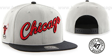 Bulls 'SCRIPT-SIDE SNAPBACK' Grey-Black Hat by Twins 47 Brand