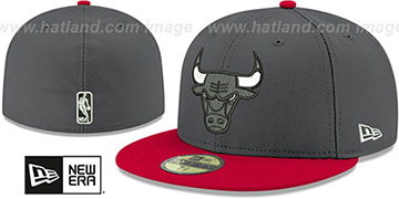 Bulls SHADER MELT-2 Grey-Red Fitted Hat by New Era