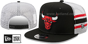 Bulls SIDE-STRIPE TRUCKER SNAPBACK Black Hat by New Era