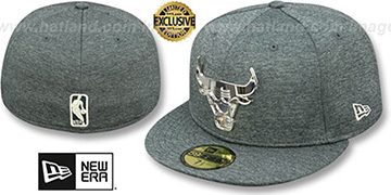 Bulls SILVER METAL-BADGE Shadow Tech Fitted Hat by New Era