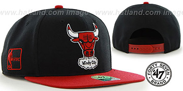 Bulls 'SURE-SHOT SNAPBACK' Black-Red Hat by Twins 47 Brand