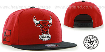 Bulls 'SURE-SHOT SNAPBACK' Red-Black Hat by Twins 47 Brand