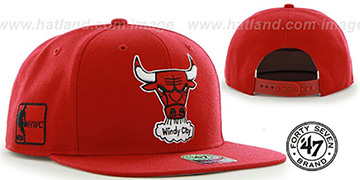 Bulls SURE-SHOT SNAPBACK Red Hat by Twins 47 Brand