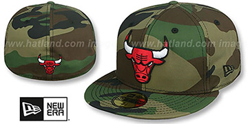 Bulls TEAM-BASIC Army Camo Fitted Hat by New Era
