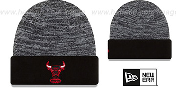 Bulls 'TEAM-RAPID' Black-White Knit Beanie Hat by New Era