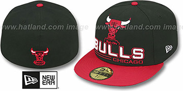 Bulls TECH MARK Black-Red Fitted Hat by New Era