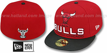 Bulls 'TECH MARK' Red-Black Fitted Hat by New Era