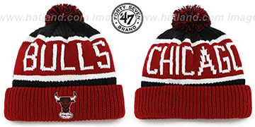Bulls THE-CALGARY 2 Red-Black Knit Beanie Hat by Twins 47 Brand